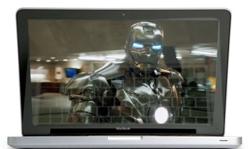 MacBook Pro playing Iron Man